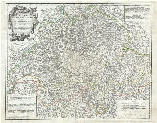 Carte de la Republique des Suisses ou sont distingues les 13 cantons et leurs allies, les sujets de ces cantons et ceux de leurs allies.