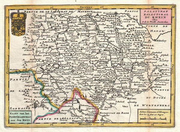 Palatinat Eslectoral du Rhein. Kaart van het Palts Graafschap aan den Rhyn.