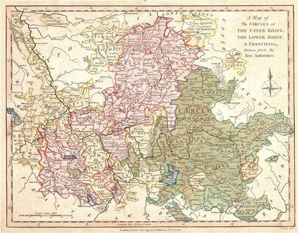 A Map of the Circles of The Upper Rhine, The Lower Rhine, & Franconia, Drawn from the Best Authorities.