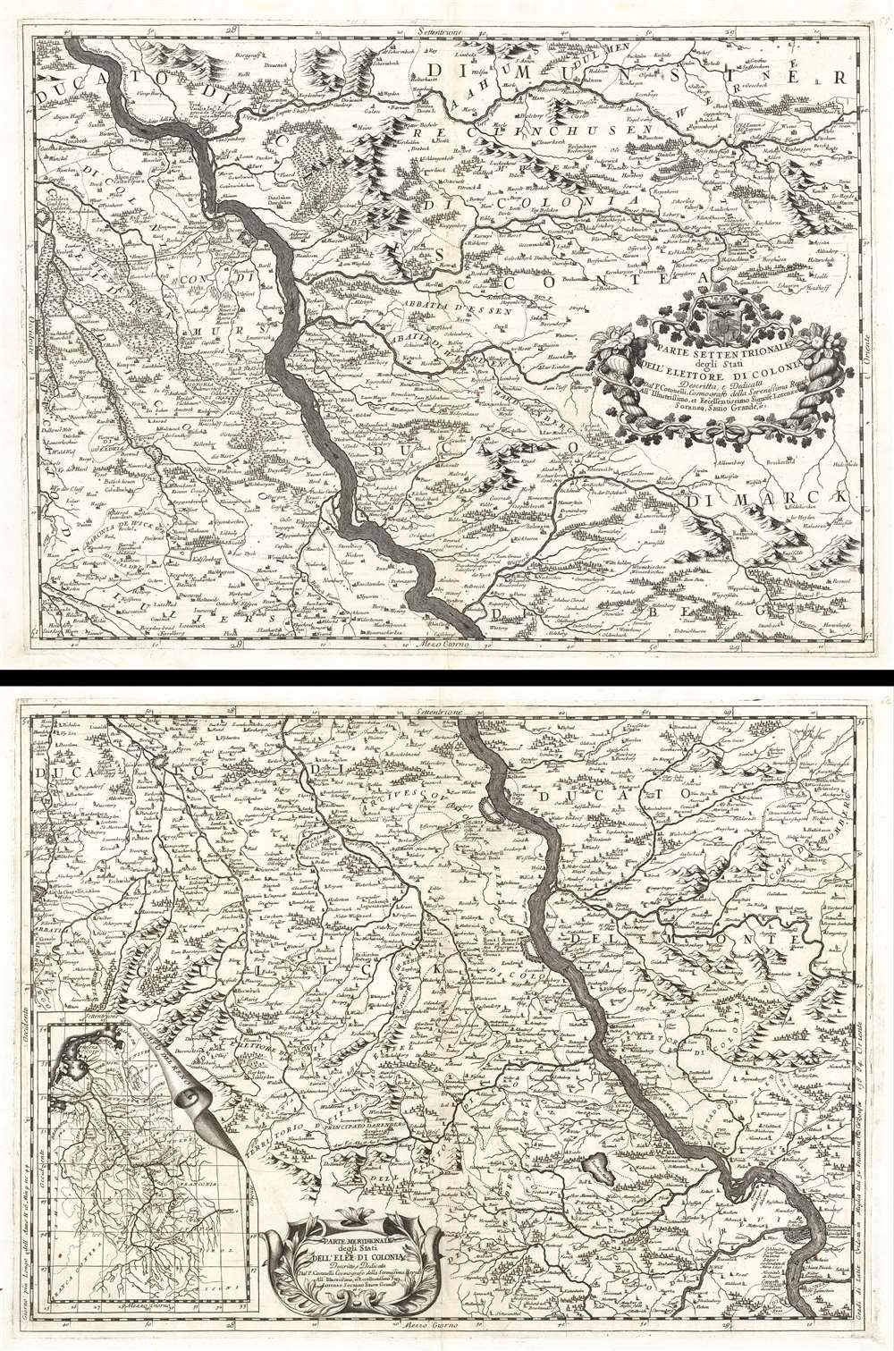 Parte Settentrionale degli Stati Dell'Elettore di Colonia. / Parte Meridionale degli Stati Dell'Elet. Di Colonia.