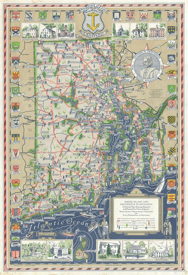 Rhode Island and Providence Plantations A Pictorial Map Showing Historical and Present Day Points of Interest. - Main View