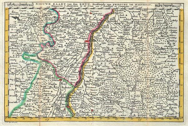 Nieuwe Kaart van den Rhyn, Strekkende van Fribourg tot Haguenau.