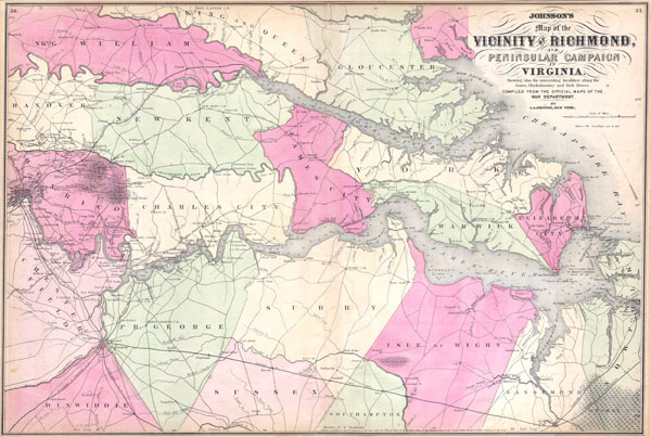 Johnson's Map of the Vicinity of Richmond, and Peninsular Campaign in Virginia Showing also the interesting localities along the James, Chickahominy and York Rivers. Compiled from the official maps of the War Department. - Main View