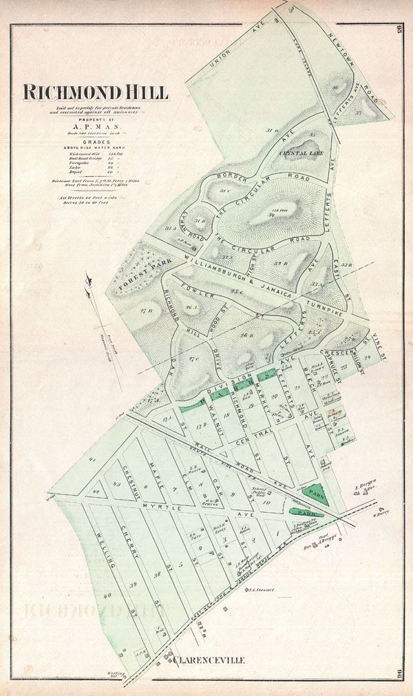 Richmond Hill. Laid out expressly for private Residences, and restricted against all nuisances. Property of A. P. Man.