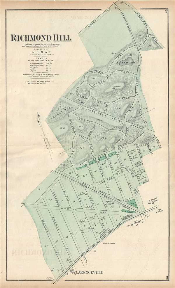 Richmond Hill. Laid out expressly for private Residences, and restricted against all nuisances. Property of A. P. Man. - Main View