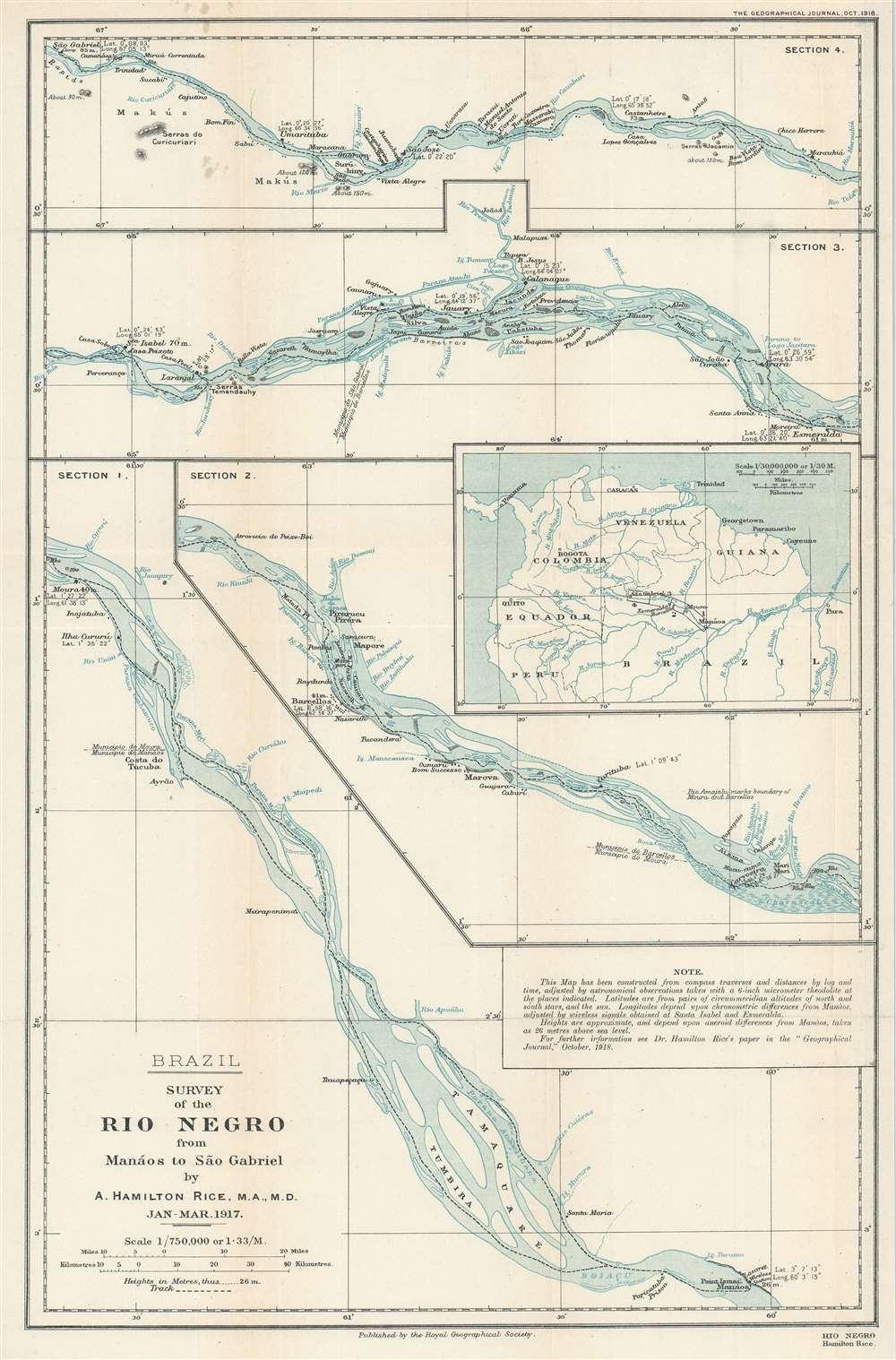 1918 Rice Map of the Rio Negro, Brazil
