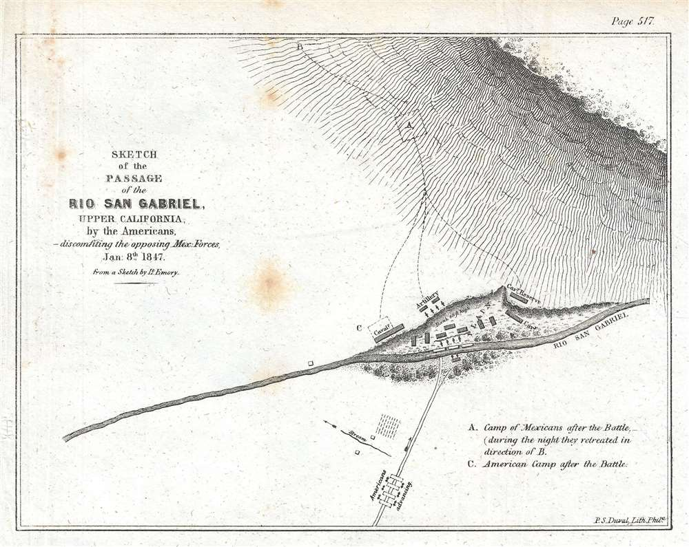 1847 Emory Map of the Mexican War Battle of the Rio San Gabriel in Los Angeles