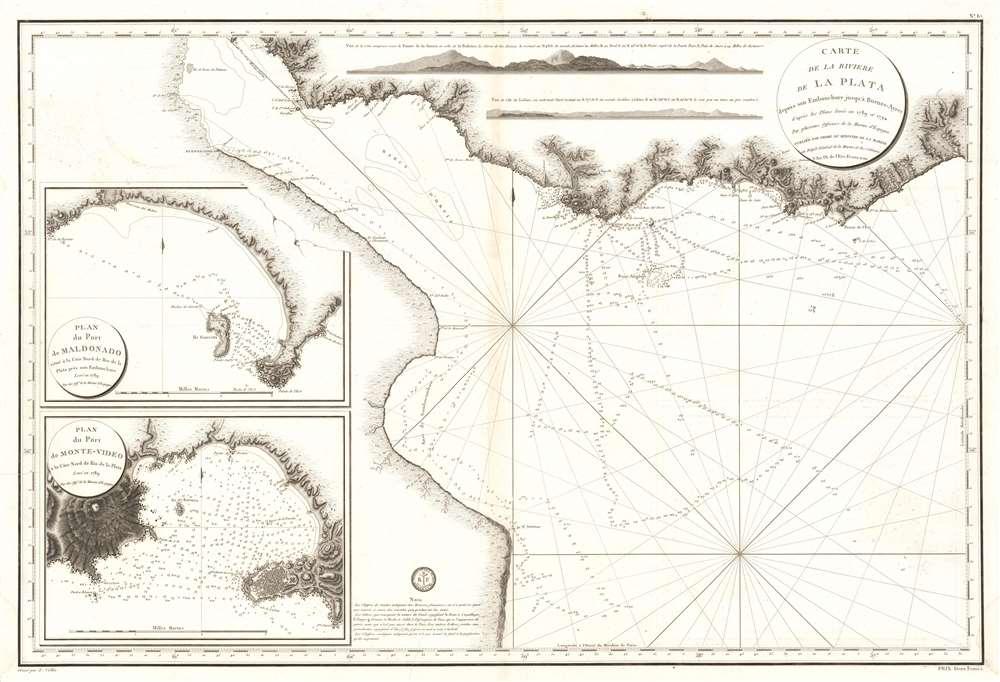 Carte de La Riviere de La Plata depuis son Embouchure jusqu'a Buenos-Ayres d'apres les Plans leves en 1789 et 1794.
