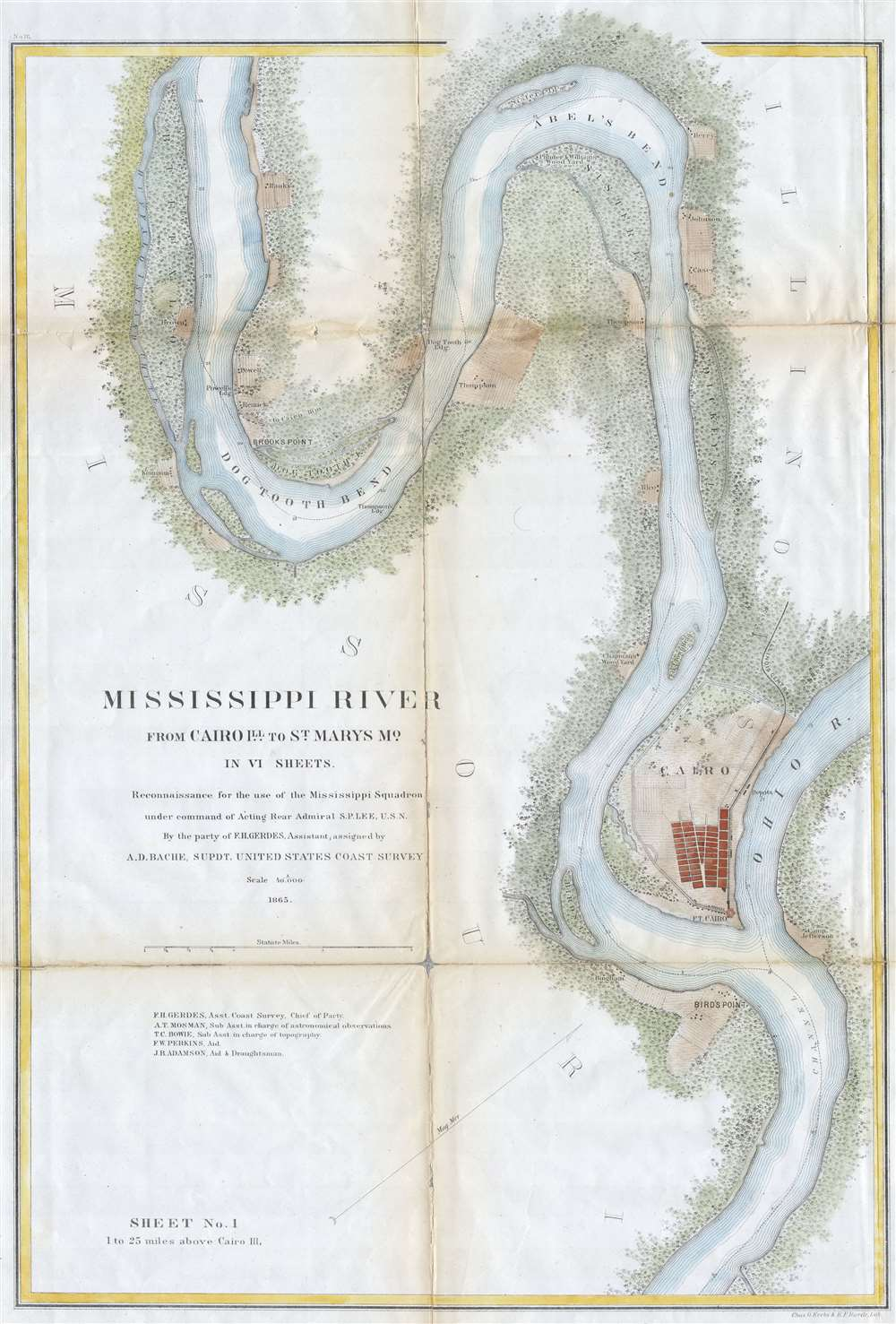Mississippi River from Cairo Illinois to St. Mary's Missouri in VI Sheets.  Reconnaissance for the use of the Mississippi Squadron under the command of Acting Rear Admiral S.P.L.E.E,  U.S.N. By the part of E. H. Gerdes, Assistant; assigned by A.D. Bache, Supdt. United States Coast Survey. - Main View