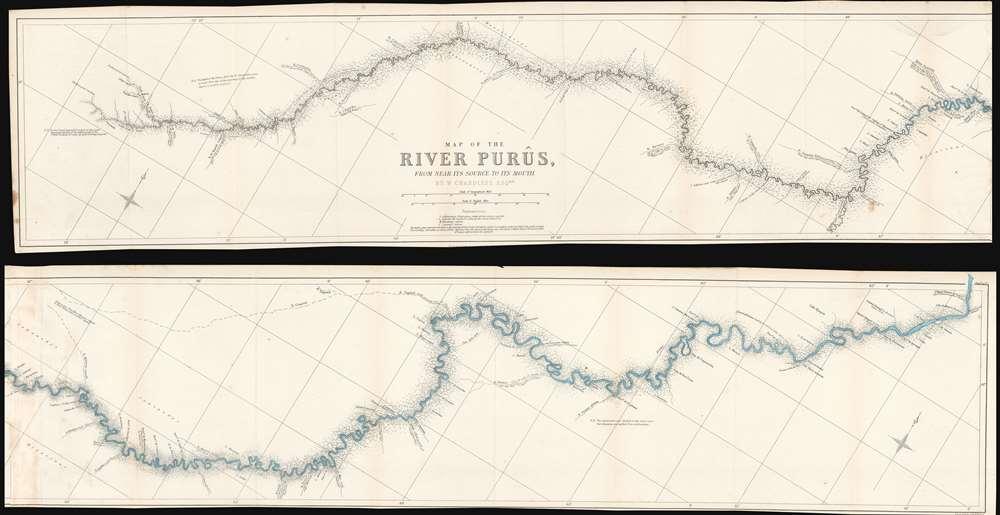 1866 Chandless Ribbon Map of the Purus River, Brazil and Peru