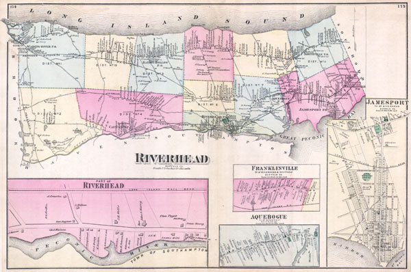 1873 Beers Map of Riverhead, Suffolk County, Long Island