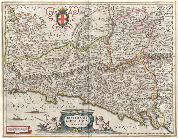 1646 Blaeu Map of the Bay of Genoa, Italy