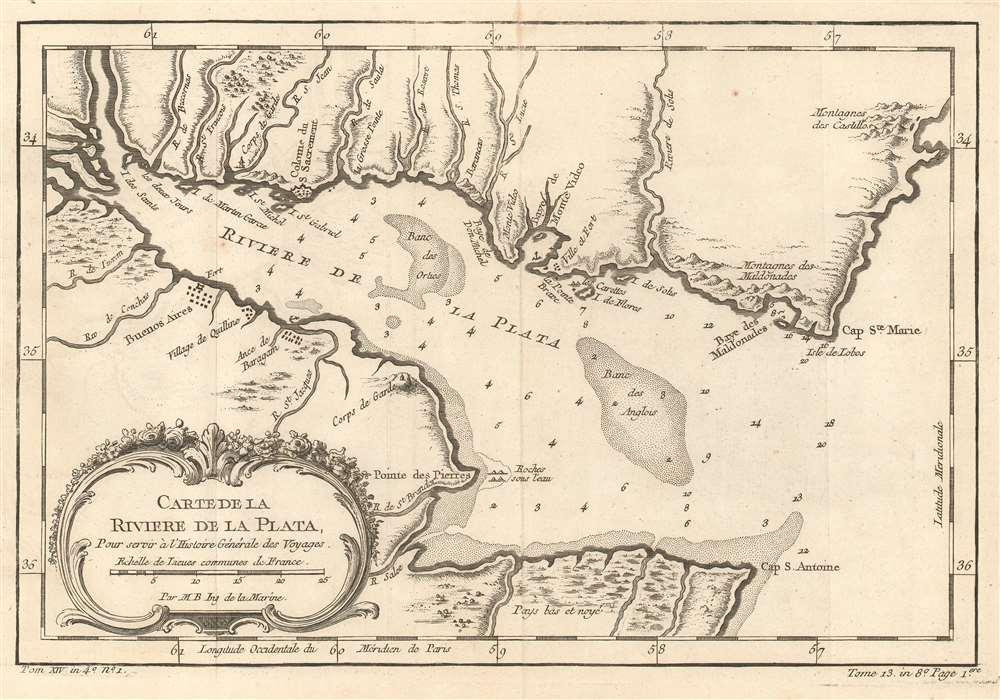 Carte De La Riviere De La Plata : Pour servir à l'Histoire Générale des Voyages. - Main View