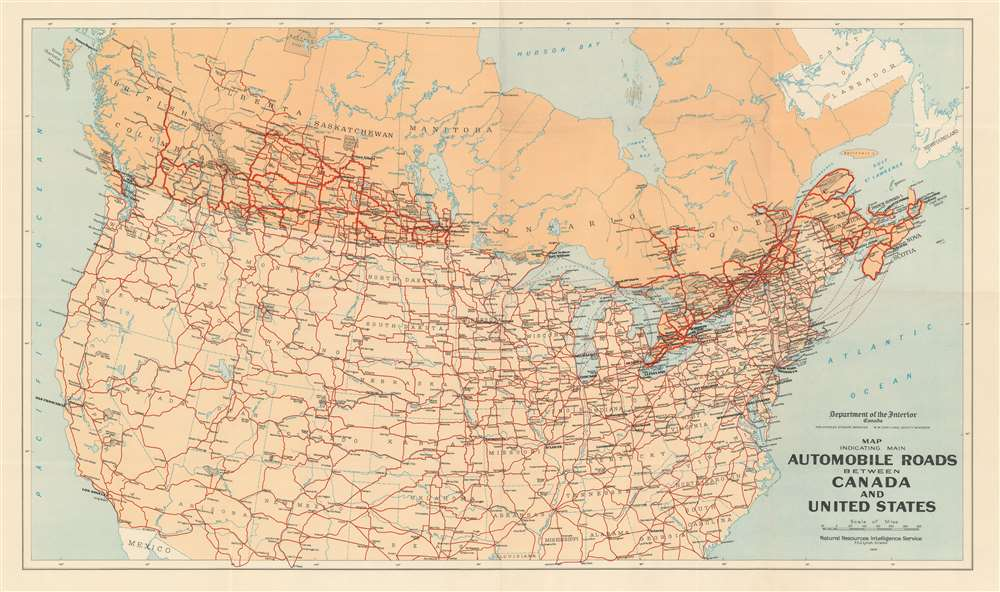 Map Indicating Main Automobile Roads Between Canada and United States. - Main View