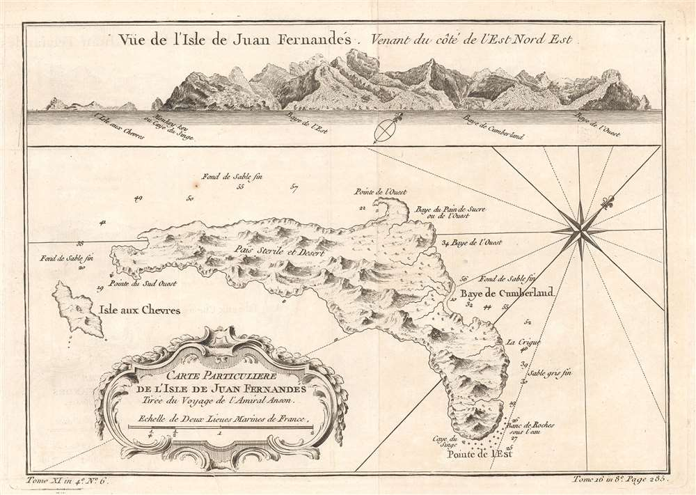 Carte Particulière de l'isle de Juan Fn.ernandés Tirée du voyage de l'Amiral Anson. - Main View