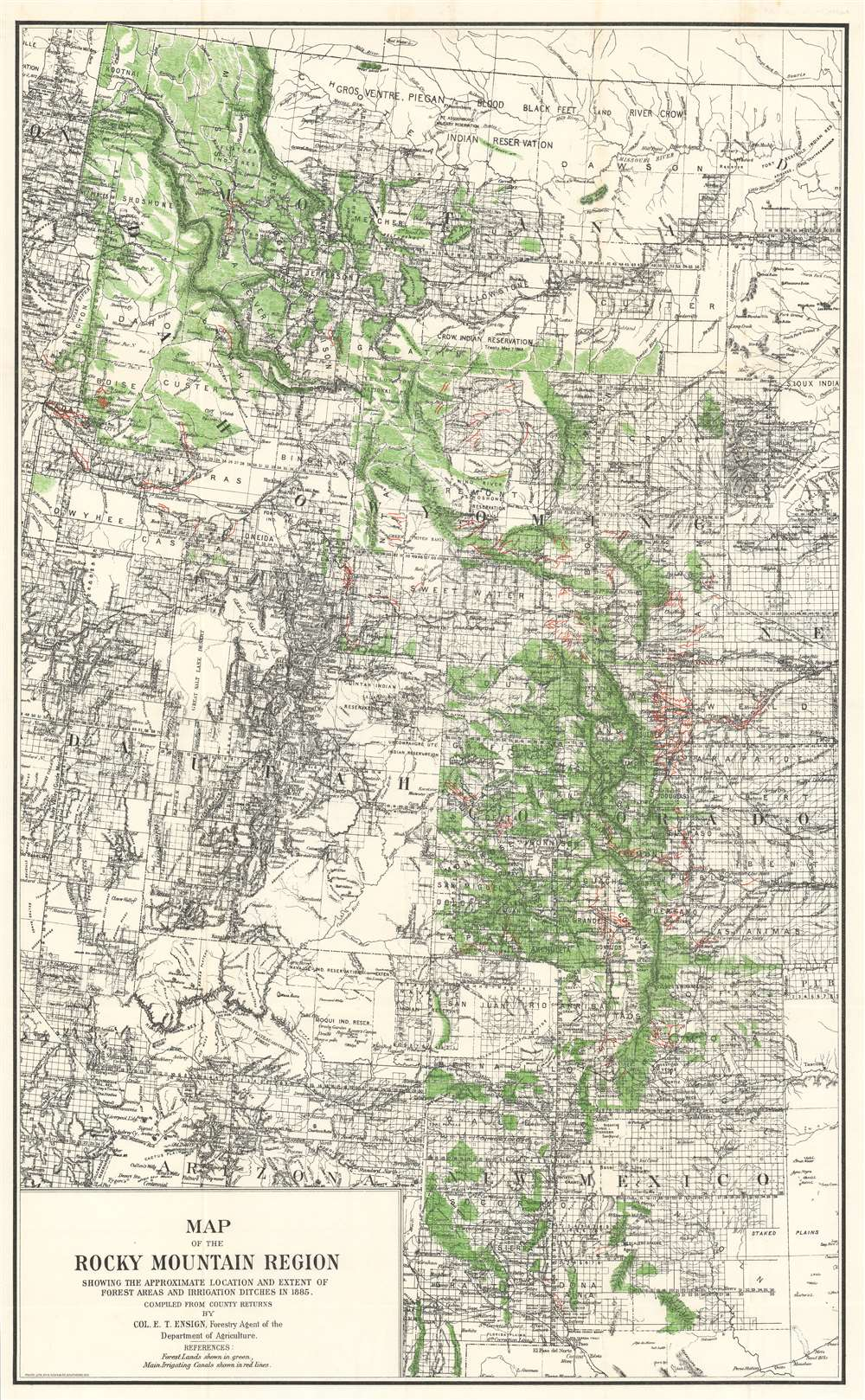 Map of the Rocky Mountain Region Showing the Approximate Location and Extent of Forest Areas and Irrigation Ditches in 1885. - Main View