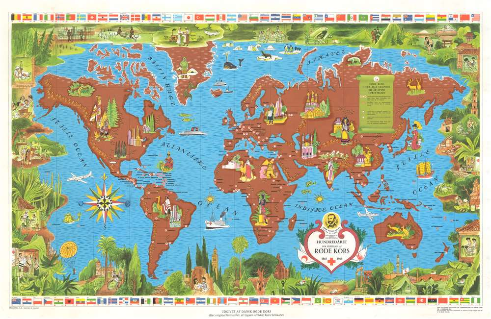 1962 Boucher Map of the World - Red Cross 100th Anniversary