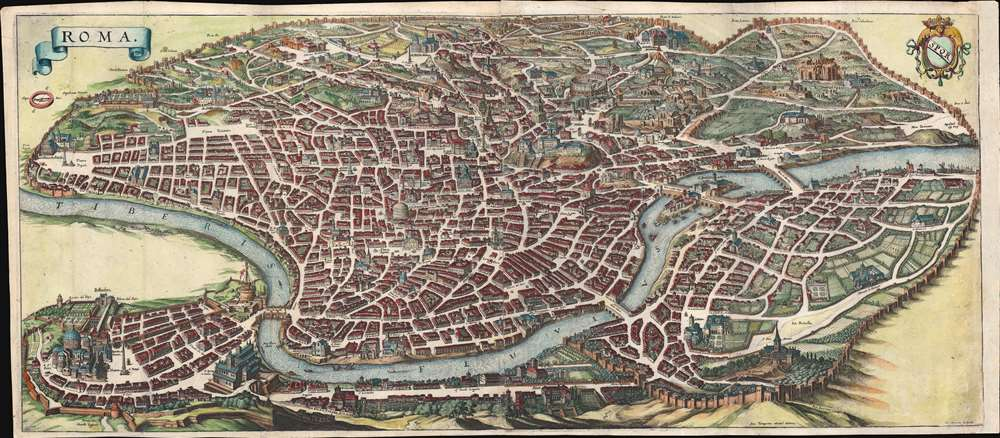 1642 Merian Panoramic View or Map of Rome, Italy