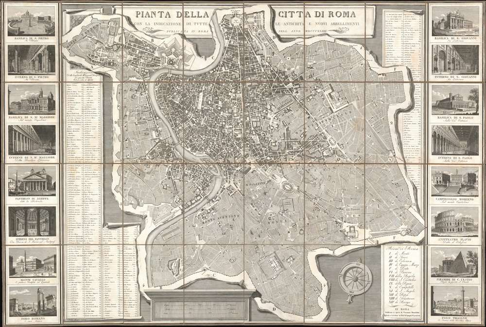 1824 Ruga City Map or Plan of Rome, Italy