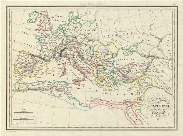 Empire Romain sous Constantin et sous Trajan.