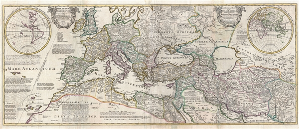 An historical map of the Roman Empire and the neighbouring barbarous nations to the year of our Lord four hundred when the empire began to be rent with foreign invasions. / Theatrum historicum ad annum Christi quadringentesimu in quo tum Imperii Romani tum barbarorum circumincolentium status ob oculos ponitur.