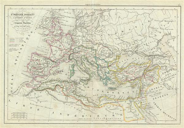 Carte de l'Empire Romain depuis l'Avenement d'Auguste jusqu'au traite de paix entre l'Empereur Diocletien et le Roi Sassanide Narses.