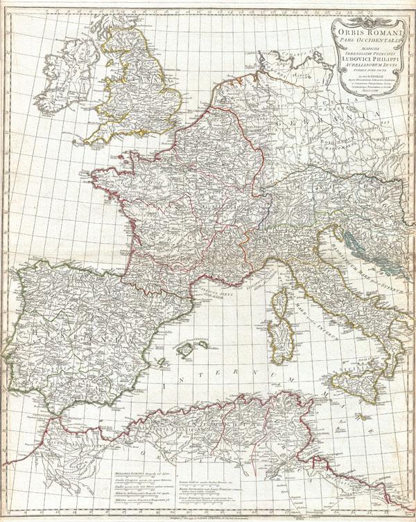 Orbis Romani Pars Occidentalis Auspiciis Serenissimi Principis Ludovici Philippi Aurelianorum Ducis Publici juris Facta… - Main View