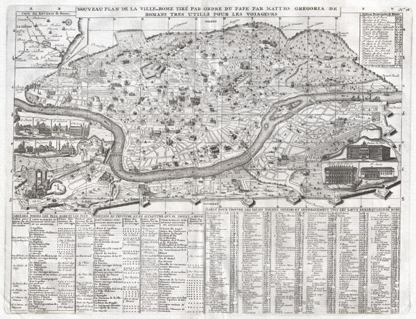 Nouveau Plan dela Ville de Rome Tire Par Ordre du Pape Par Matteo Gregoria de Romans Tres utille Pour Les Voiageurs.