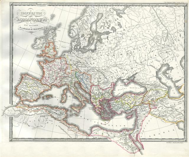 Roman Empire as Divided into East and West (Ancient Rome). - Main View