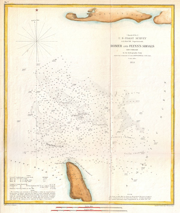 1853 U.S. Coast Survey Map of Romer and Flynn's Shoals, Coney Island, New York