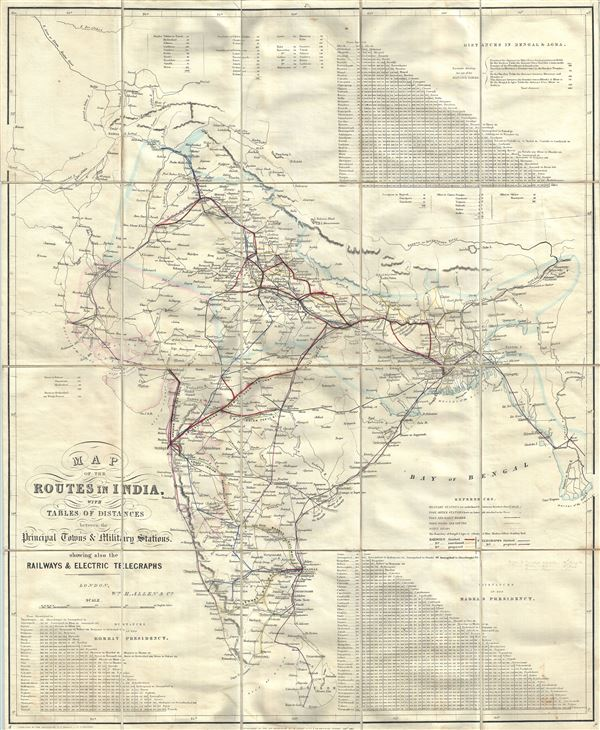 Map of the Routes in India, with tables of distances between the Principal Towns and Military Stations.