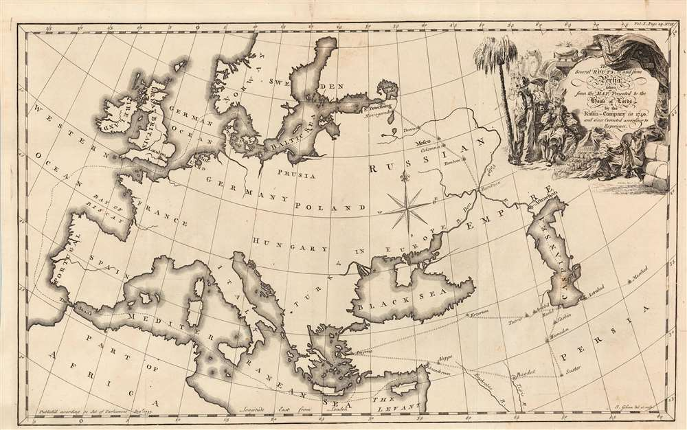 1762 Jonas Hanway Map of Europe with Trade Routes to Persia