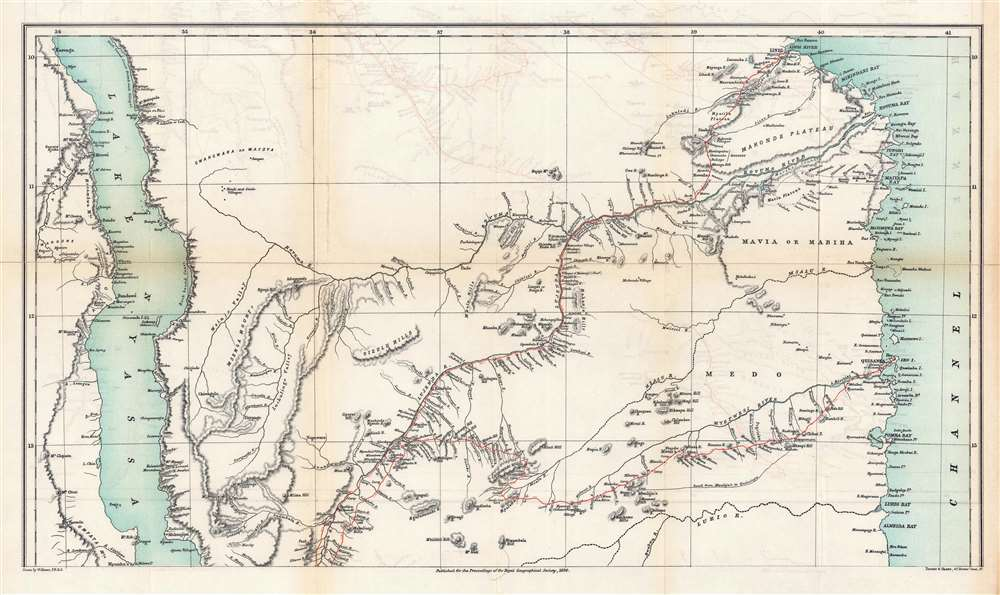Eastern Africa Between the Rovuma and Zambesi Rivers Illustrating the Surveys of Mr. J.T. Last Leader of the Royal Geographical Society's Expedition to the Namuli Peaks 1885 - 6 - 7. - Alternate View 2