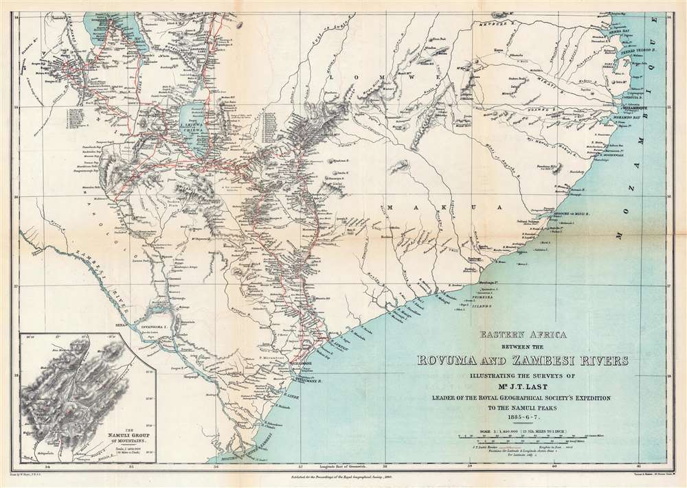 Eastern Africa Between the Rovuma and Zambesi Rivers Illustrating the Surveys of Mr. J.T. Last Leader of the Royal Geographical Society's Expedition to the Namuli Peaks 1885 - 6 - 7. - Alternate View 3