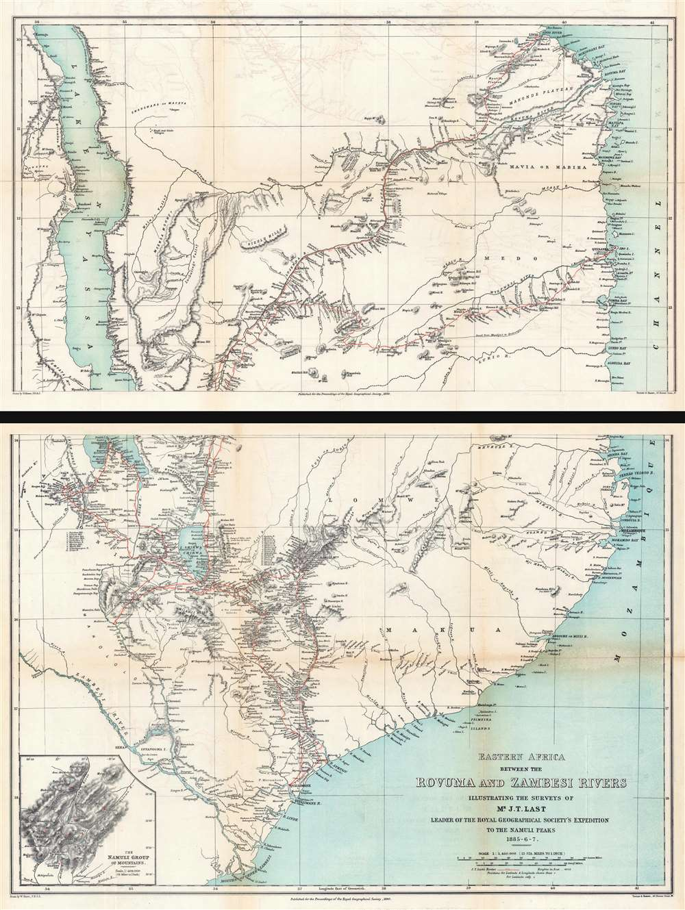 Eastern Africa Between the Rovuma and Zambesi Rivers Illustrating the Surveys of Mr. J.T. Last Leader of the Royal Geographical Society's Expedition to the Namuli Peaks 1885 - 6 - 7. - Main View
