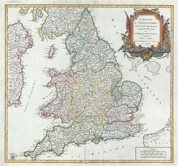 Le Royaume d'Angleterre, divise selon les sept Royaumes, ou Heptarchie des Saxons, avec la Principaute de Galles; et subdivise en Shires ou Comtes.