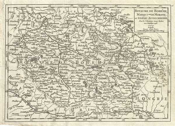 1748 Vaugondy Map of Bohemia (Czech Republic), Moravia and Silesia