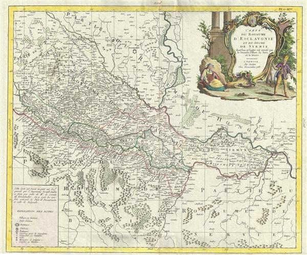 Carte du Royaume D'Esclavonie et du Duche de Syrmie, dont l'un et l'autre est arrose par le Danube, l'Illove, La Save, et la Drave.