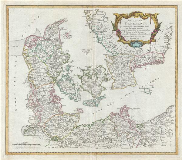 Royaume de Danemarck, qui comprend le Nort-Jutland divise en ses quatre Dioceses, le Sud-Jutland divise en ses deux Duches, de Sleswick et de Holstein, et les Isles de Fionie, Selande, Laland, etc. - Main View