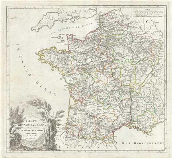Carte du Royaume de France ou sont tracees exactment Les Routes des Postes.