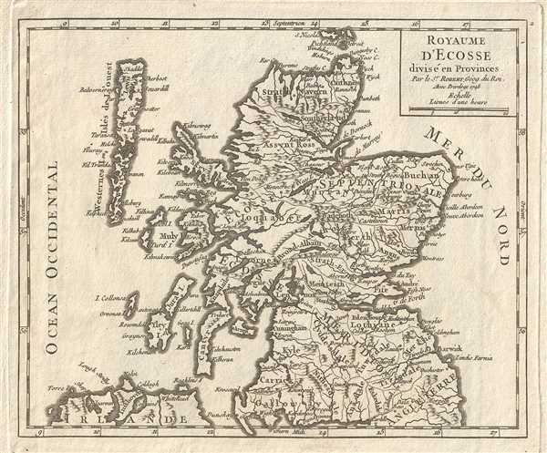 Royaume D'Ecosse divise en Provinces.