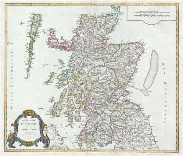 Le Royaume d'Ecosse divisee en Shires ou Comtes.