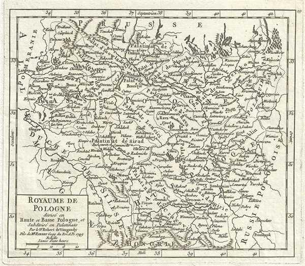 Royaume de Pologne divise en Haute et Basse Pologne, et Subdivise en Palatinats.