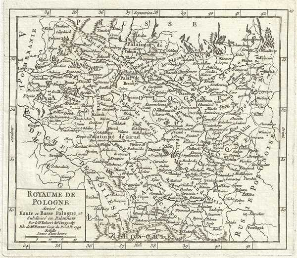1749 Vaugondy Map of Poland