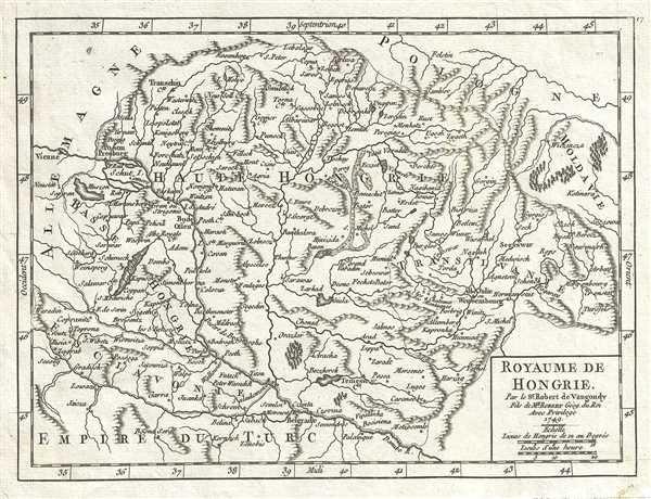 1749 Vaugondy Map of Hungary and Transylvania (Romania)