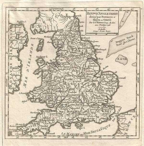 Royme. D'Angleterre divise par Provinces et Shires ou Comtes.