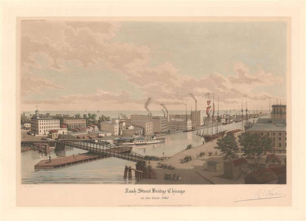 Rush Street Bridge Chicago in the Year 1861. - Main View