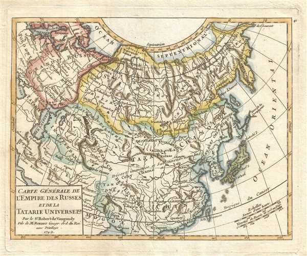 Carte Générale de l'Empire des Russes et de la Tartarie Universelle. Par le Sr. Robert de Vaugondy Fils de M. Robert Geogr. ord. du Roi.