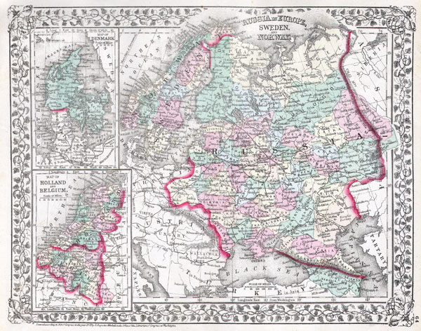 Russia in Europe, Sweden and Norway.  Map of Denmark.  Map of Holland and Belgium. - Main View