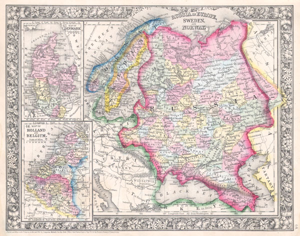 Russia in Europe, Sweden and Norway. / Map of Denmark. / Map of Holland and Belgium.
